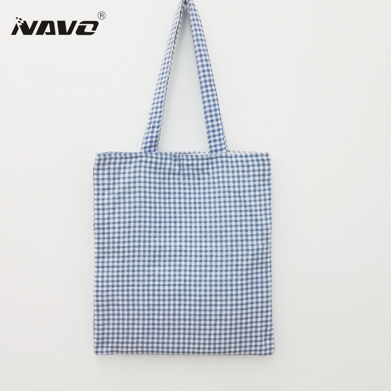 2-layer Fresh Blue Plaid Cotton Shopping Bag Recycle Foldable Shoping Bags Women Bookbag Cotton Lining Eco Reusable Handbags(China (Mainland))