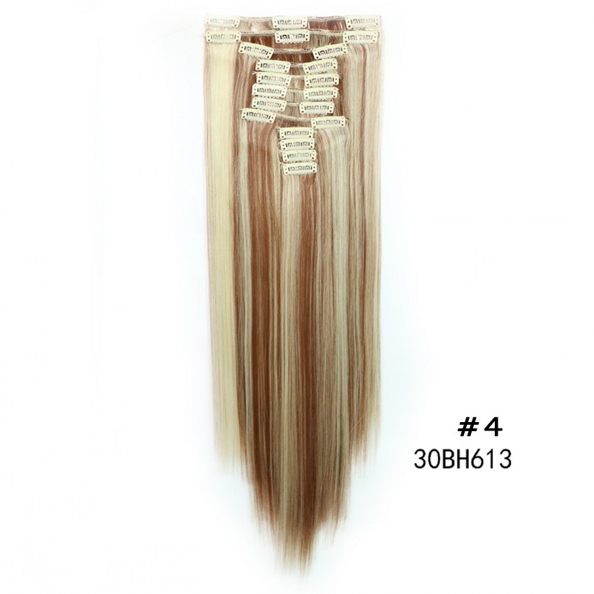 "Woman hair clip in straight hair extension 24""60cm 150g 12pcs/set 22clips ins synthetic natural hair piece hairpiece extensions"