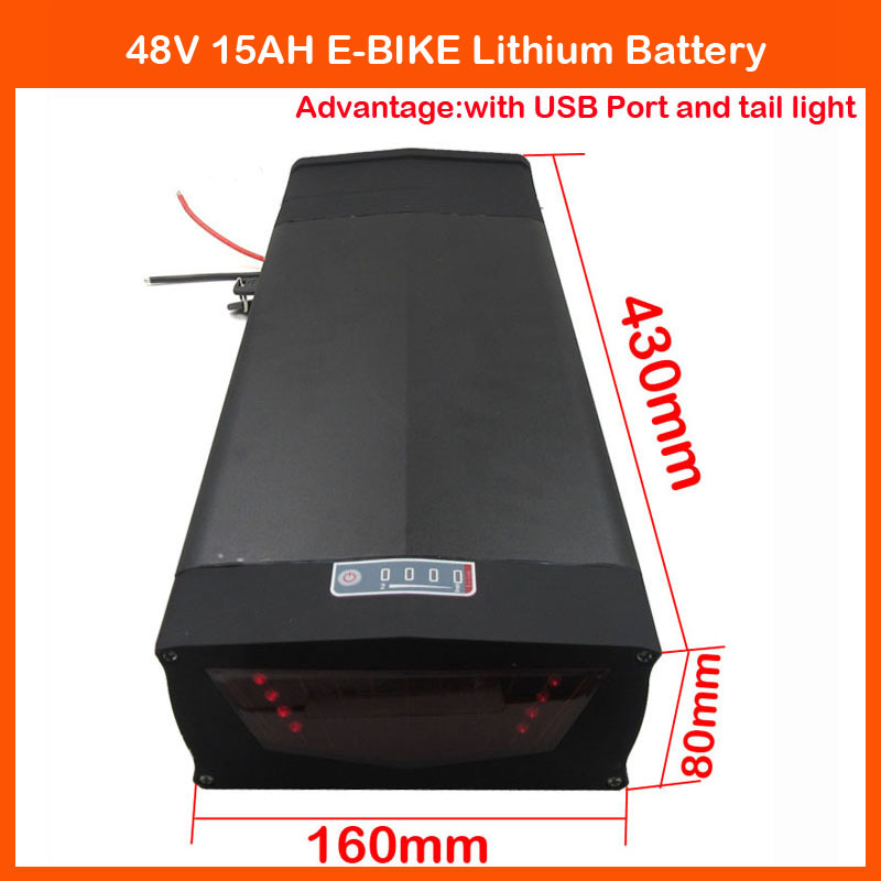 700W Rear Rack Lithium Battery 48V 15AH Electric Bike Battery with 5V USB port and Tail Light , 15A BMS,54.6V 2A Charger(China (Mainland))