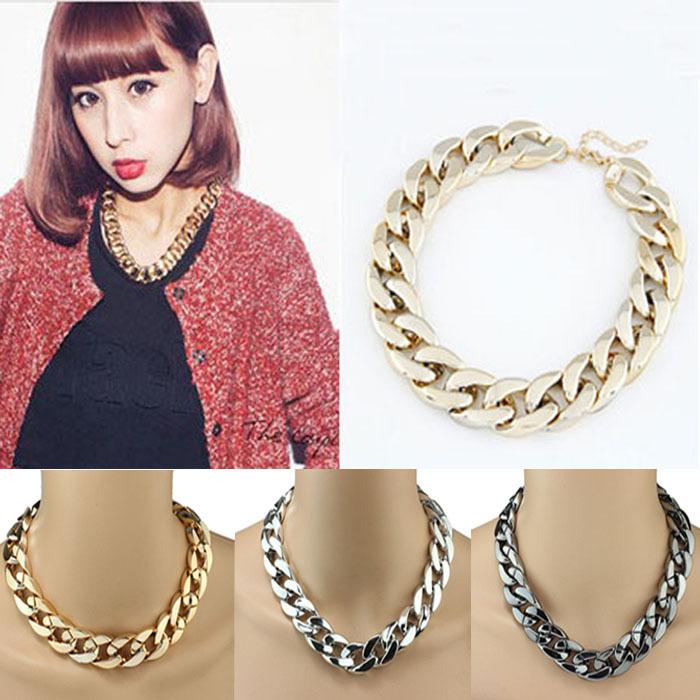 1PC Shiny Link ID Celebrity Style Alloy Choker Necklace Chunky Chain Freeshipping&Wholesale Feida(China (Mainland))