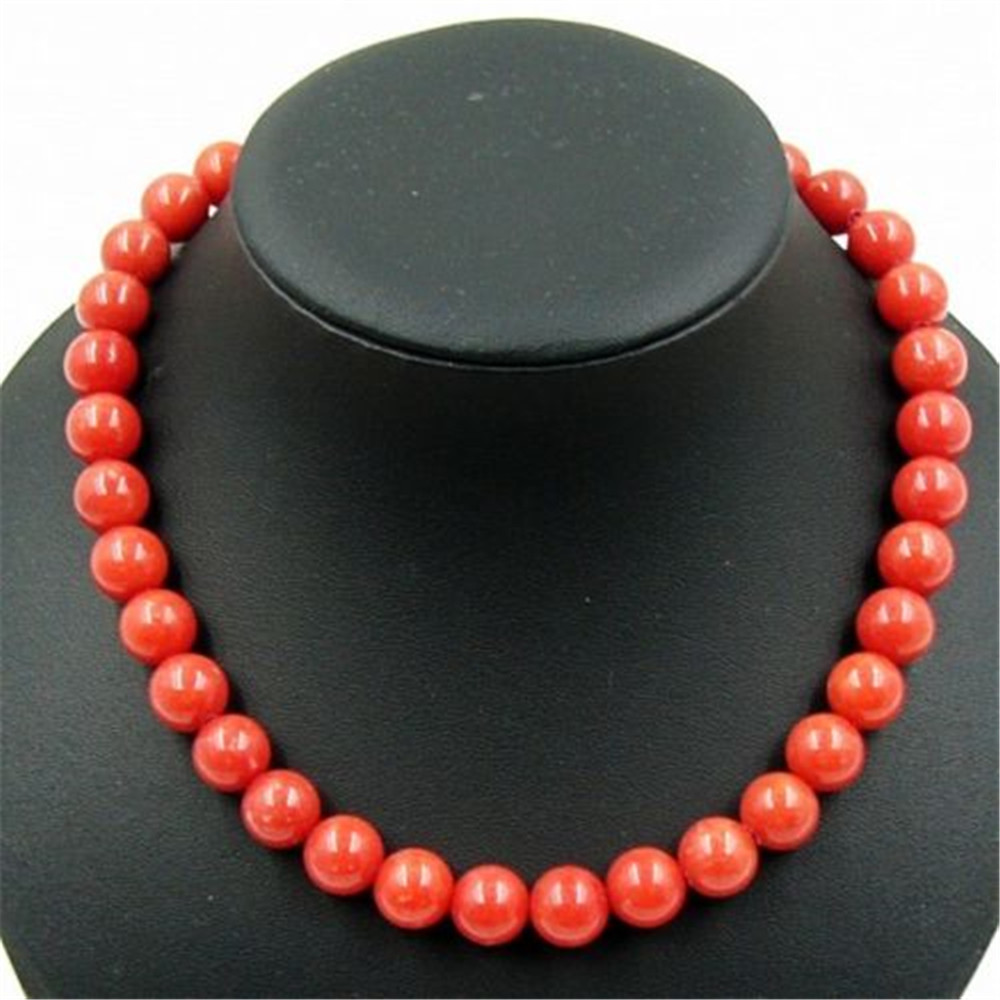 Vintage Classic Laboratory-created Natural Stone Jewelry Elegant Noble Red Coral Beaded Chain Necklace 46cm for Women 2016 New(China (Mainland))