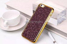 Football grain gold frame mobile phone hard electroplating back case for iPhone 6 Plus 5.5