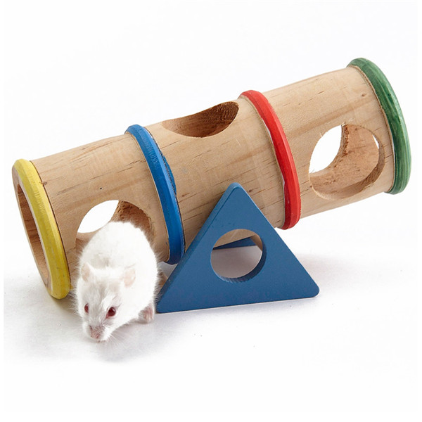 Wholesale Natural Wooden Rainbow Colorful Seesaw Cage House Hide Toys For Pet Rat Hamster(China (Mainland))