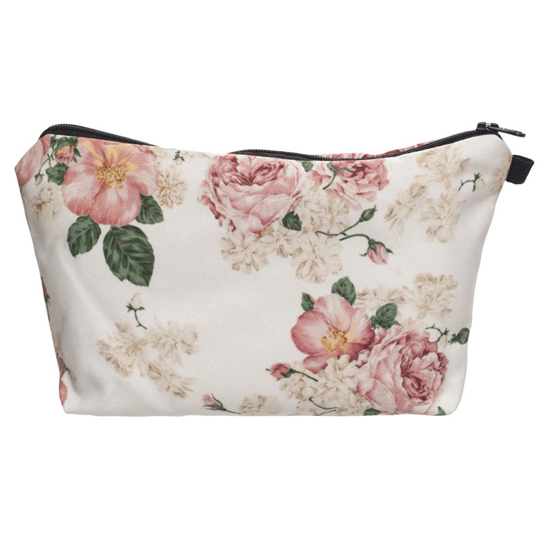 pink roses 3d printing cosmetic bag trousse de maquillage necessaire neceser para mujer
