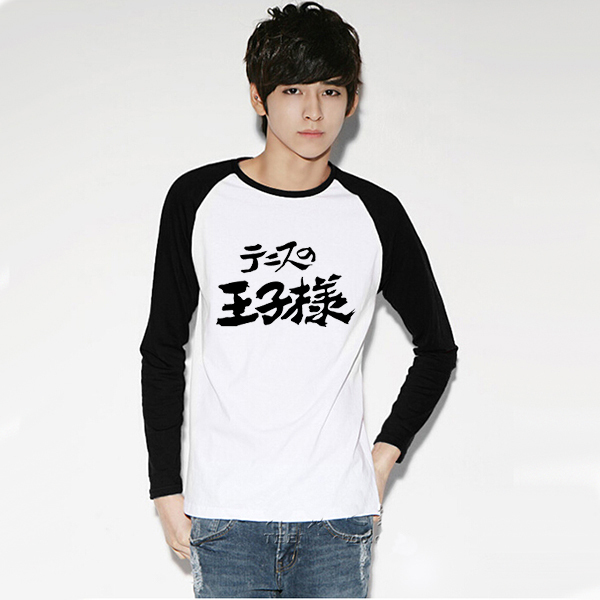 Comics The Prince of Tennis Mens Black White Raglan Long Sleeves Letter Print T Shirt Male Clothes Boy Clothing Swag Anime(China (Mainland))