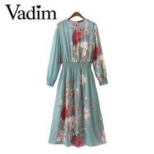 Women elegant floral chiffon dress see through two pieces set long sleeve elastic waist casual brand dresses vestidos QZ2932(China (Mainland))