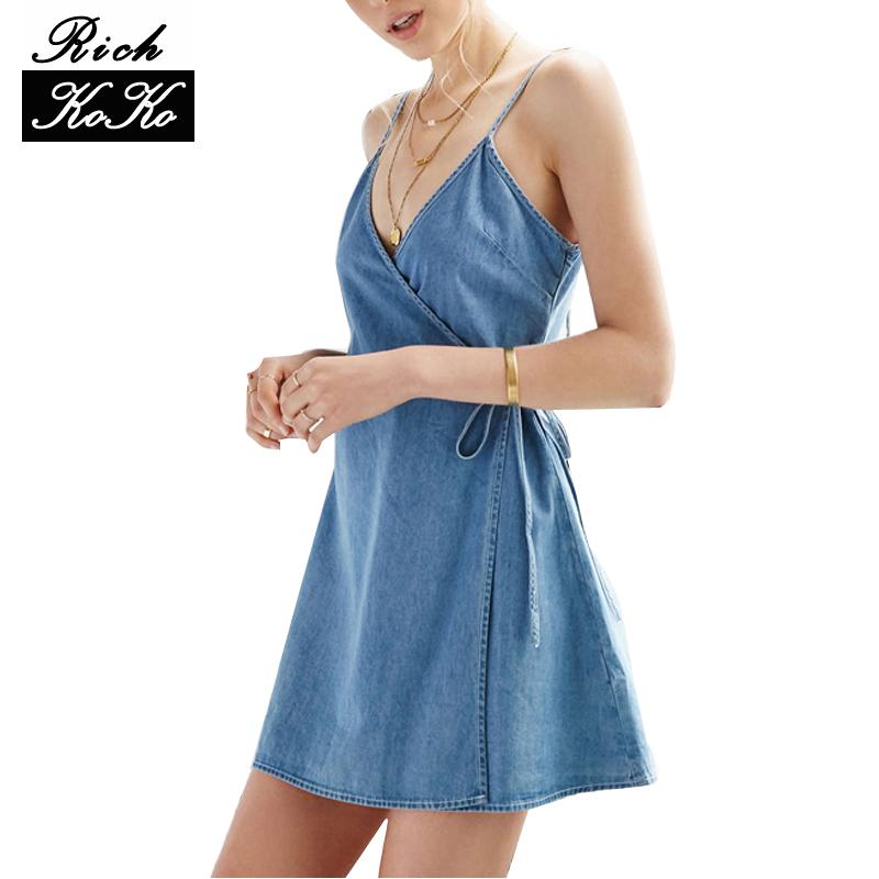 Richkoko Apparel Denim Sexy Blue Plunge Neck Dress Spaghetti Strap Sashes Wrap Dresses Backless Sleeveless Street A-line Dress(China (Mainland))