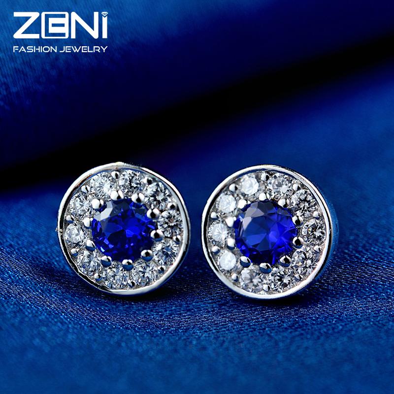 2016 Fine Jewelry 925 Sterling Silver Earrings with Genuine Cubic Zirconia Natrual Crystal Stud Earrings for Women Zeni Jewelry<br><br>Aliexpress