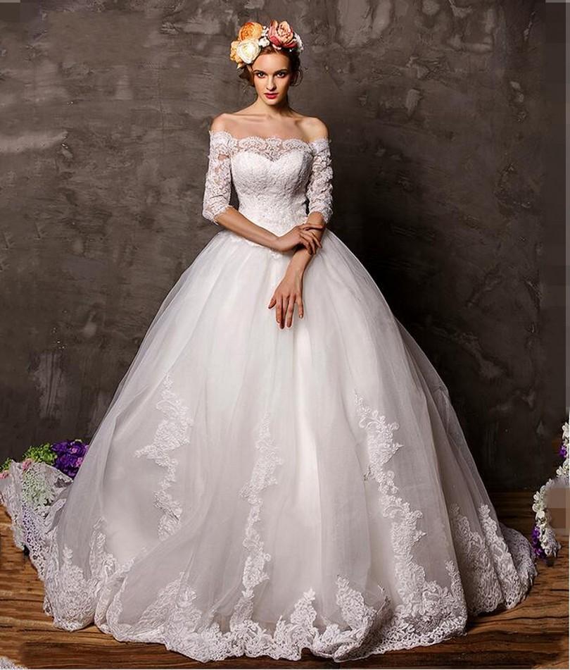 Кружевные свадебные пышные платья