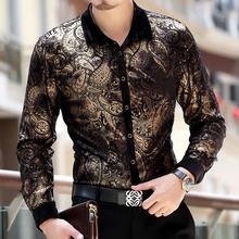 2015 male gold velvet long-sleeve shirt gold velvet shirt personalized bronzier