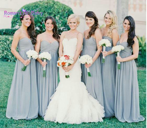 Bluish Gray Bridesmaid Dresses