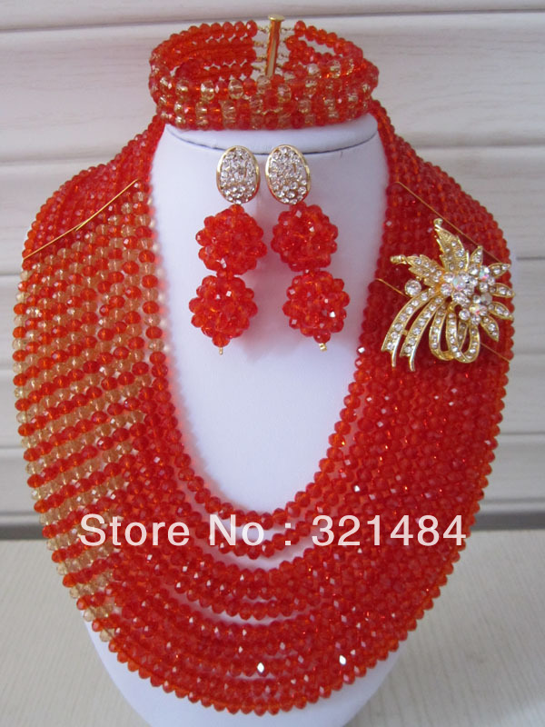 Fashion African Wedding Women Red Crystal Beads Jewelry Set Necklace Bracelet And Clip Earrings CRB-008<br><br>Aliexpress