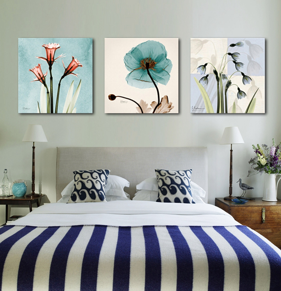 3 pieces Unframed Wall Art Picture Gift Home Decoration Canvas Print Painting abstract flower 9 horses love tree plum lavender(China (Mainland))