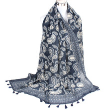 Free Ship plus size Bluewhite porcelain paisley long scarf lady tassel female cashew infinity scarf shawl women wrap accessories(China (Mainland))