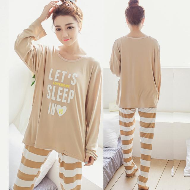 Новый женский молоко шелковые пижамы хлопка пижамы комплект мягкие пижамы женщины ...