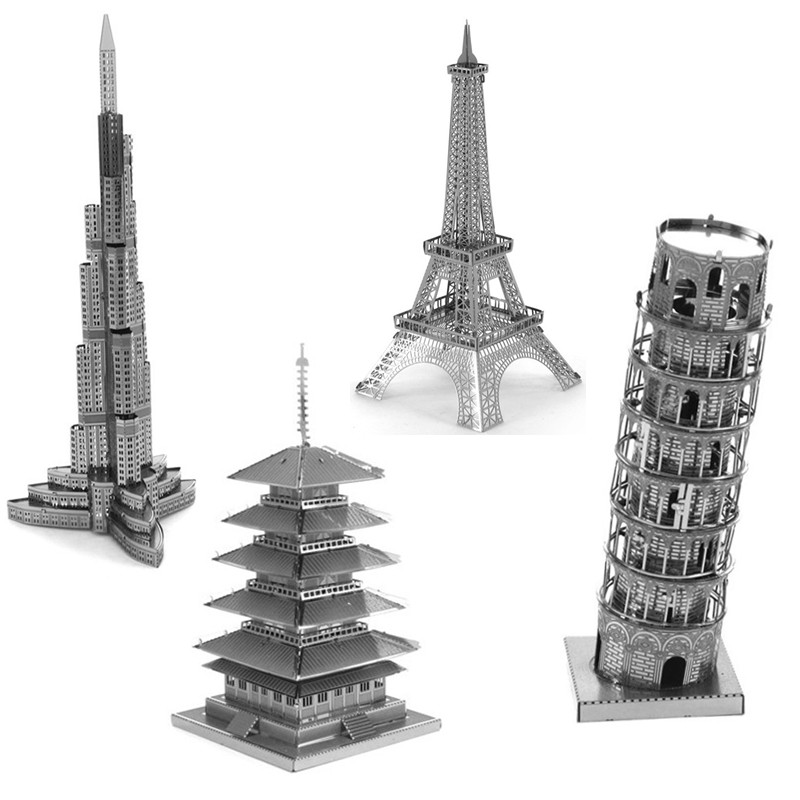 Variety Towers Building Lowest Price 3D Metal Puzzle Eiffel Tower Pisa Tower DIY Assembly Creative Kids Toys Wholesale Toys(China (Mainland))