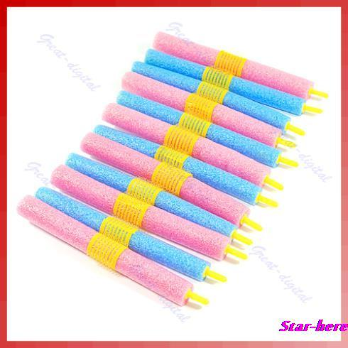 Free Shipping 12pcs/set Soft Foam Anion Bendy Hair Rollers Curlers Cling(China (Mainland))