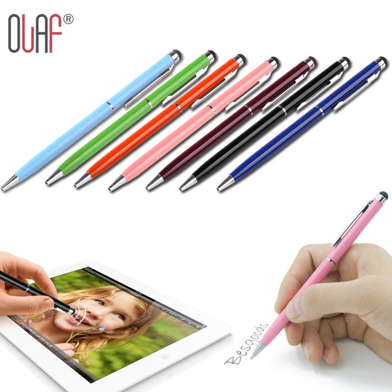 High Quality Mini Metal Capacitive Touch Pen Stylus Screen For Phone Tablet Laptop Built-in Ballpoint Pen 2 in 1(China (Mainland))