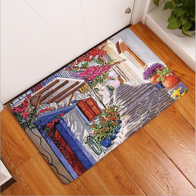 New Seaside Town Printed Mat Anti-Slip Decor Doormat Foot Pad Bathroom  Kitchen Hallway Carpets Floor Mat For Living Room 40 60cm - us827 a9a169b3d8a6