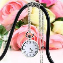 1pcs Quartz Round Pocket Watch Dial Vintage Necklace Silver Chain Pendant Antique Style 2015 Personality Pretty