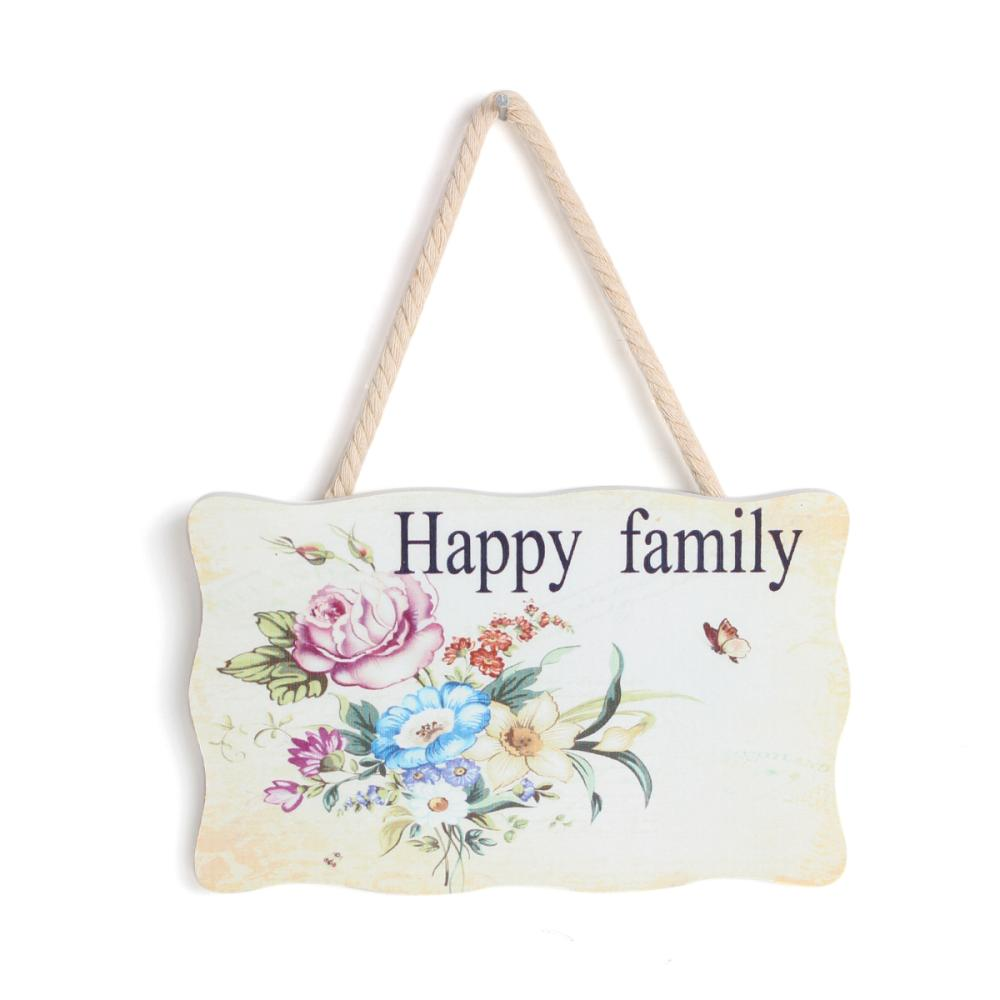 Wood Wall Home Hang Decoration Rectangle Multicolor Flower Pattern