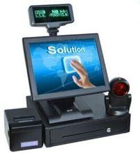 O envio gratuito de Ponto de venda tudo em um sistema pos tocar computador loja cash register com gaveta de dinheiro de impressora scanner vfd(China (Mainland))