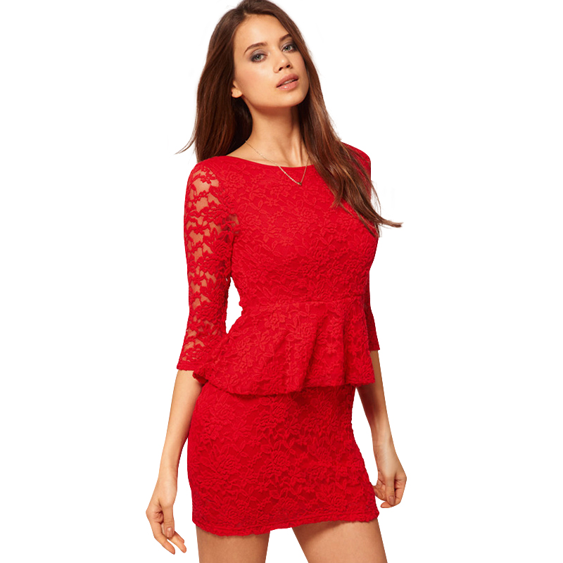 Deep V Back Half Sleeve Lace Dress 2016 Spring Summer O Neck Sexy Dress Red Black S M L XL Free Shipping(China (Mainland))