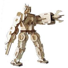 Free Shipping 1Piece Eco-friendly DIY Solar Robots Wooden Toys Robot Warrior Model Kits(China (Mainland))