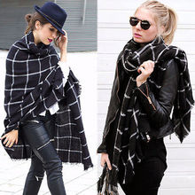 2015 free shipping New Lady Women Blanket black white Plaid Cozy Checked Tartan Scarf Wraps shawl