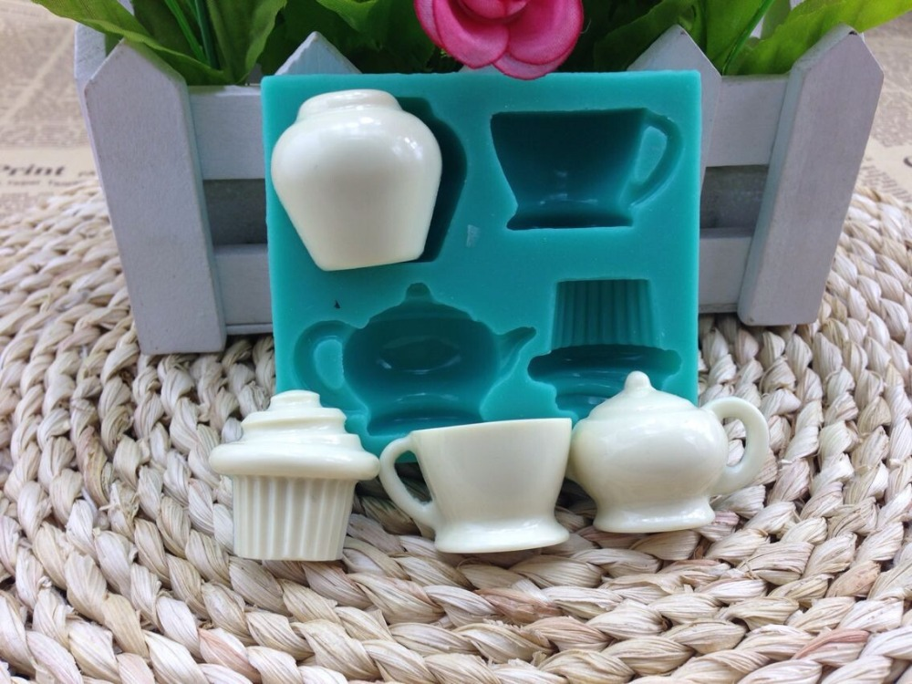 3D Teapot  Shape Soap Mold Candy Mold Chocolate Mold Cake Mold Silicone Fondant Cake Decorating Tools Baking Tools