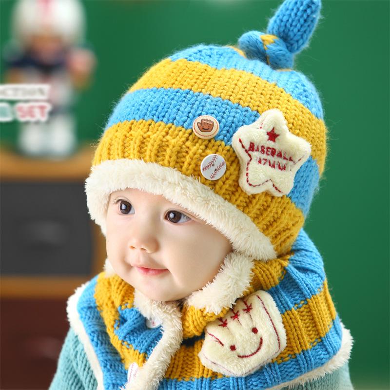 2 piece/ set Hot Sale Boy Girl Unisex Autumn Winter Baby Hat+Sarf Set baby hats scarf children infant caps(China (Mainland))