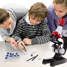 Baby Kids Educational Microscope Kit Science Lab LED 100-1200X Toy Home School Brand Gifts Free shipping (China (Mainland))
