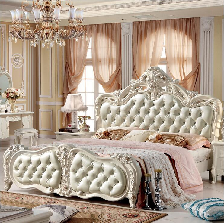 Modern european solid wood bed fashion carved 1 8 m bed french bedroom furniture 10019 in beds for Contemporary european bedroom furniture