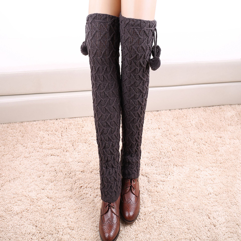 2015 Black Knitted Leg Warmers For Women Knee High Boot ...
