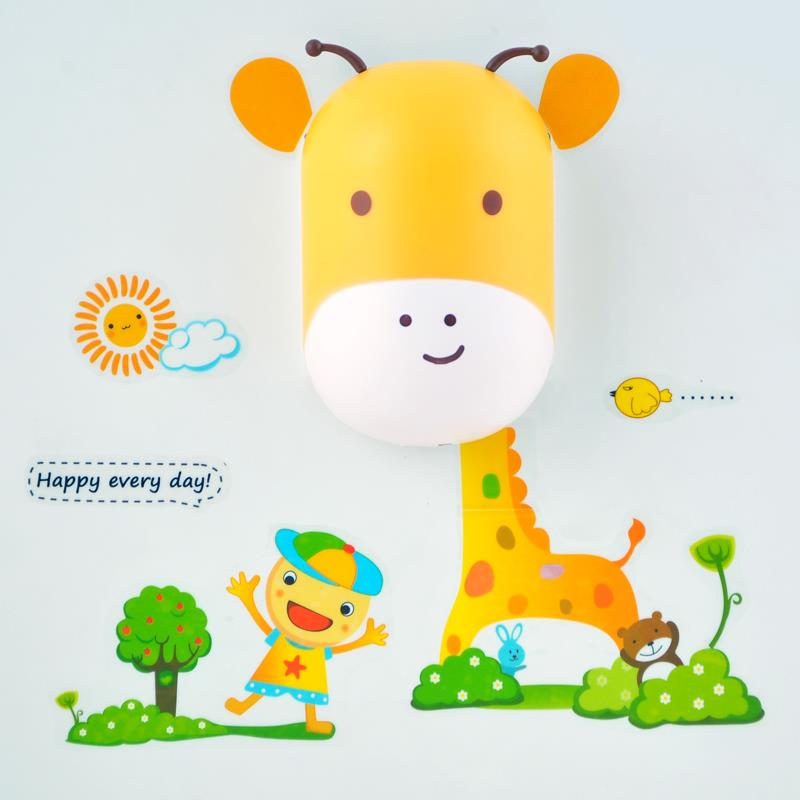 Cute Giraffe 3D Wall Sticker Light Induction Novelty Lamp Light With Wallpaper for Children Toy Gift(China (Mainland))