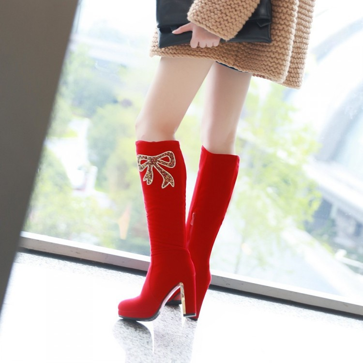 Diamond bow cotton zipper tall canister boots female big yards Women High Heel Over Knee Boots Fashion Snow Long Sexy Boot 34-43(China (Mainland))