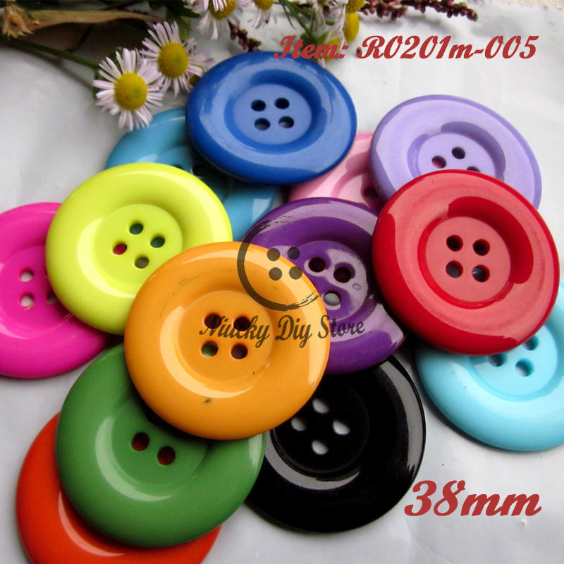 100pcs 38mm 4 holes Colorful resin coat buttons large fashion buttons clothing accessories diy craft accessories wholesale(China (Mainland))