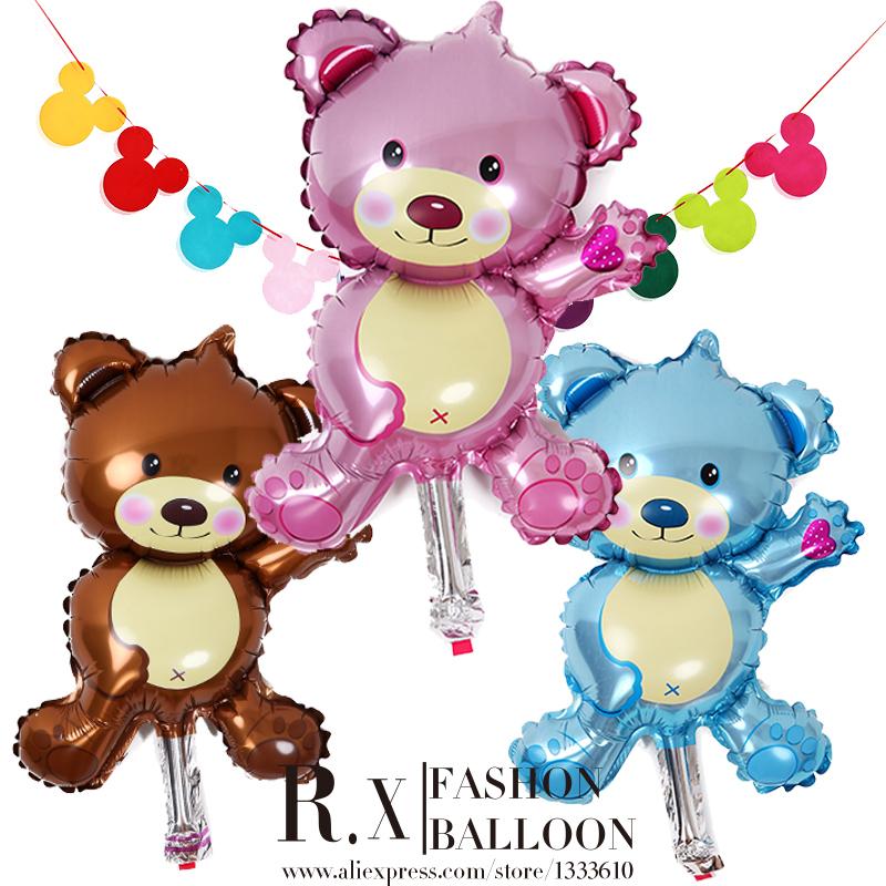 Mini cute teddy bear with aluminium film balloon birthday party room hotel decoration small cartoon balloons+Free shipping(China (Mainland))