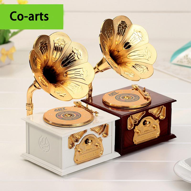 Creative retro gramophone music box eight high-end European gold ornaments nouveau riche drawer included crafts(China (Mainland))