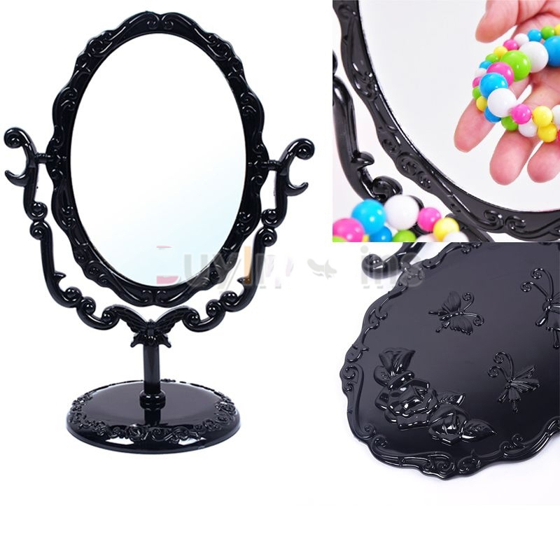 Dollarine Special! Desktop Rotatable Gothic Small Size Rose Makeup Stand Mirror Black Butterfly Newly!!(China (Mainland))