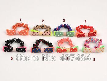 Free shipping wholesale boutique  hair holder satin Elastic girl's hair ties bands pokla dot hair bands,20 pcs/lot