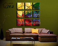 Great Quality Thick Textured 9PCS Oversized Real Handmade Modern Abstract Oil Painting On Canvas Wall Art  ,Love Art   ytth076