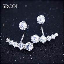 Fashion Ear Jacket 925 Silver Jewelry With Zircon Earrings Minimalist Ear Climber Crawlers Earring Jackets For Wedding Gift