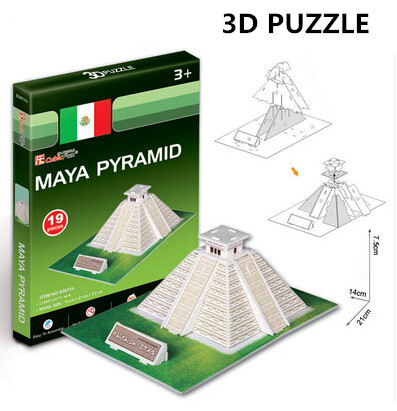 3D Puzzle Cubicfun Architecture Cardboard Model Toy Maya Pyramid World Famous Building Assembly DIY Toys For Kids(China (Mainland))