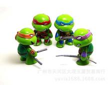 4pcs / lot Q version of Teenage Mutant Ninja Turtles action figure toy model Decoration Set