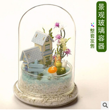 Creative landscape transparent glass cover DIY microscopic living flowers cover the glass cover to protect the flowers(China (Mainland))