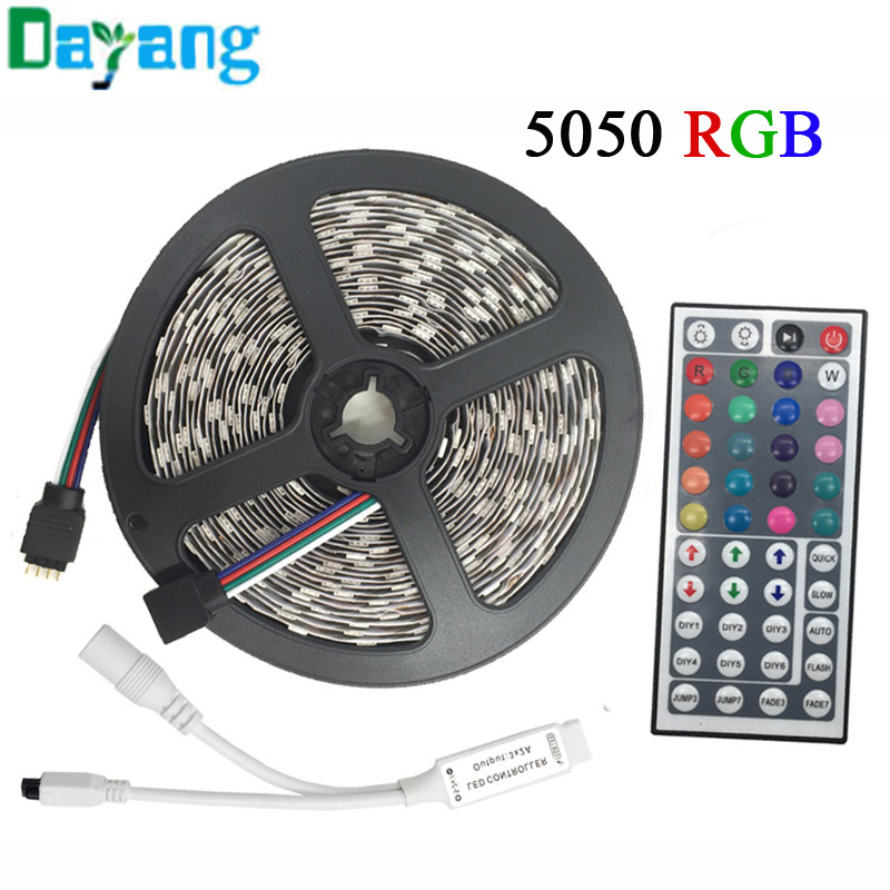 5M RGB LED Strip 5050 3528 set with IR Remote Controller DC12V SMD 60leds/M Non Waterproof/ IP65 Waterproof RGB tape LED Ribbon(China (Mainland))