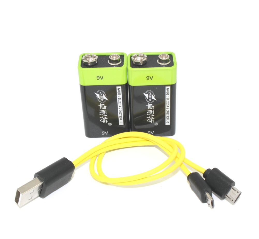 2pcs ZNTER 9V 400mAh lithium li-po li-ion rechargeable battery + micro usb cable for charging(China (Mainland))