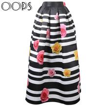 OOPS 100cm Maxi Long Skirt Womens Striped Vintage Muslim Fashion 2015 Autumn Winter Pleated Floral Printed Umbrella Skirt141001(China (Mainland))