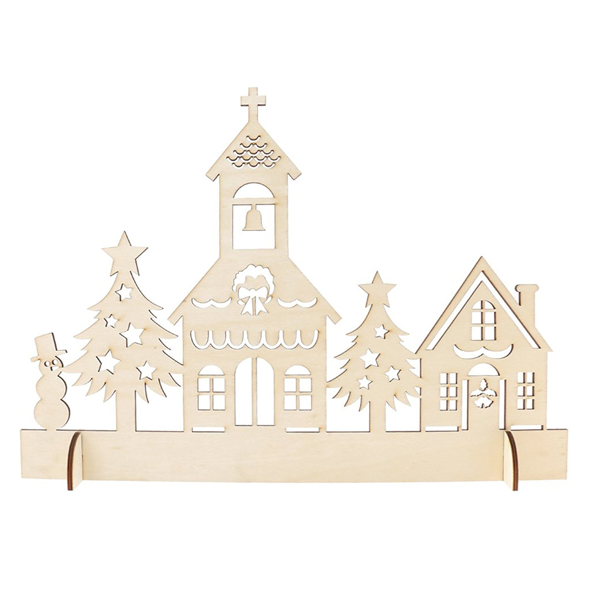 Wooden Christmas Decor Woodland Church Ornament Handcraft for Christmas New Year Decoration(China (Mainland))